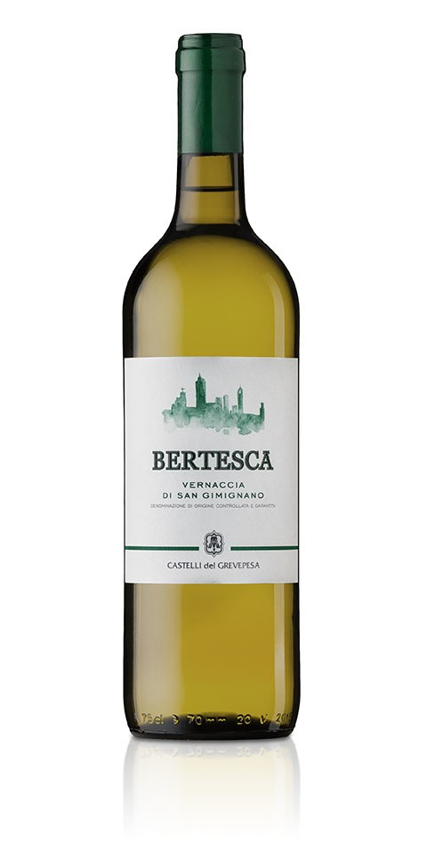 A bottle of Bertesca, a Vernaccia di San Gimignano docg white wine