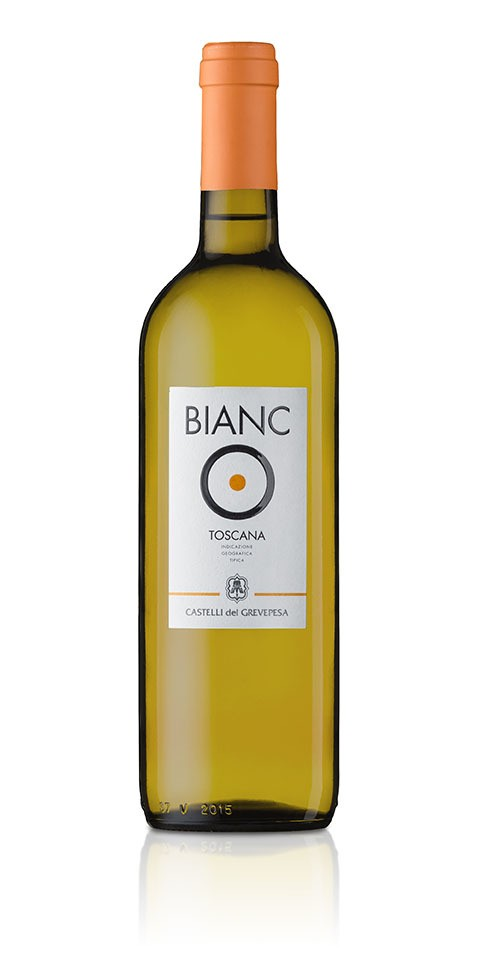 A bottle of BiancO, a great Tuscan white wine igt, by Castelli del Grevepesa