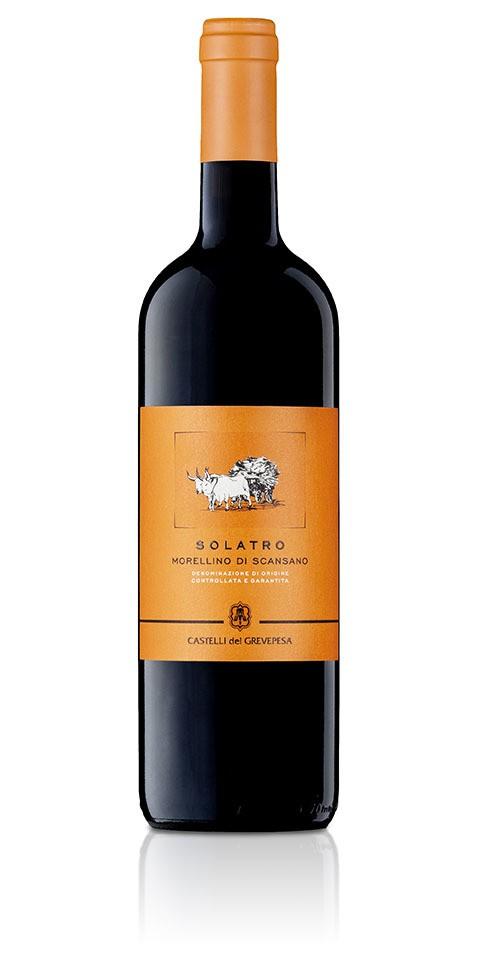 Bottiglia di Morellino di Scansano docg Solatro, prodotto dalla cantina Castelli del Grevepesa