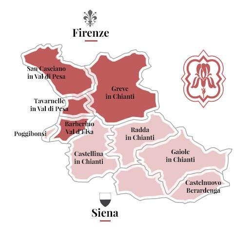 Mappa del Chianti in cui si trova Castelli del Grevepesa (ossia nei comuni di Greve in Chianti, San Casciano Val di Pesa, Tavarnelle Val di Pesa e Barberino Val d'Elsa)